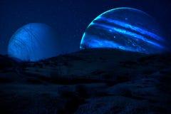aarde, Saturnus en Jupiter in een kosmische wolk - Elementen van dit beeld dat door NASA wordt geleverd stock afbeelding
