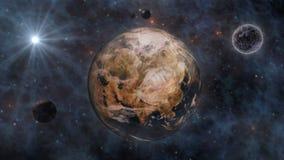 Aarde, The Sun, de Maan en de Planeten in Ruimte 3D Renderin Stock Afbeelding