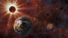 Aarde, The Sun, de Maan en Planeten het 3D Teruggeven Stock Fotografie