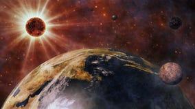 Aarde, The Sun, de Maan en Planeten het 3D Teruggeven Royalty-vrije Stock Fotografie