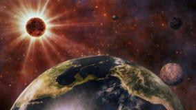 Aarde, The Sun, de Maan en Planeten het 3D Teruggeven Royalty-vrije Stock Foto