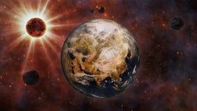 Aarde, The Sun, de Maan en Planeten het 3D Teruggeven Royalty-vrije Stock Foto's