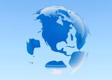 Aarde. teruggegeven 3D. Blauwe achtergrond. stock illustratie