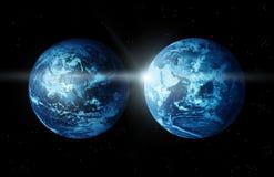 Aarde twee continent met zon die van ruimte-origineel beeld van NASA toenemen Stock Foto's