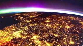 Aarde van de ruimte bij nachtanimatie de vlucht van ruimte aan aardeamination Aarde bij Nacht stock illustratie