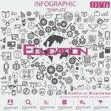 Aarde van het Idee en het Concepten Vectormalplaatje van illustratieinfographic van het Bedrijfssucces het moderne ontwerp met pi royalty-vrije stock foto