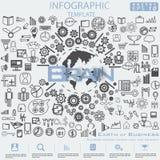 Aarde van het Idee en het Concepten Vectormalplaatje van illustratieinfographic van het Bedrijfssucces het moderne ontwerp met pi royalty-vrije stock foto's
