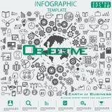 Aarde van het Idee en het Concepten Vectormalplaatje van illustratieinfographic van het Bedrijfssucces het moderne ontwerp met pi stock foto