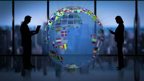 Aarde van ingezetenenvlaggen wordt gemaakt die bedrijfsruimte met bedrijfsmensen aanzetten die stock illustratie