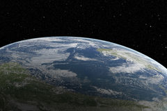 Aarde van ruimte bij mooie zonsopgang Royalty-vrije Stock Afbeeldingen