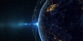 Aarde van ruimte bij nacht met een digitaal communicatiesysteem 3 vector illustratie