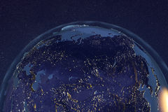 Aarde van ruimte die Rusland in nacht toont stock illustratie
