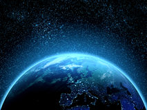 Aarde van ruimte wordt gezien die royalty-vrije stock afbeelding