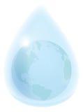 Aarde in waterdrop Royalty-vrije Stock Afbeeldingen