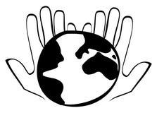 Aarde in zijn handen Stock Afbeeldingen