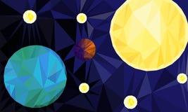 Aarde, Zon en sterren in ruimte Royalty-vrije Stock Afbeeldingen