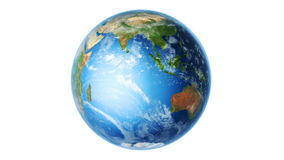 Aarde Zuidelijke Hemisfeer die op Wit (Lijn) roteren stock video