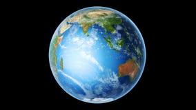 Aarde Zuidelijke Hemisfeer die op Zwarte roteren (Lijn) stock footage