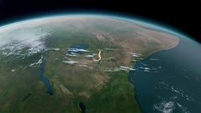 Aardebol die op zwarte achtergrond wordt geïsoleerd Elementen van dit die beeld door NASA wordt geleverd vector illustratie