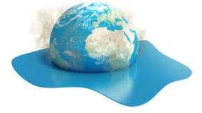 Aardebol die in water op witte achtergrond smelten vector illustratie
