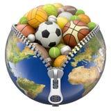 Aardebol met ritssluitingshoogtepunt van sportballen Royalty-vrije Stock Afbeeldingen