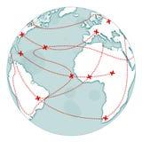 Aardebol met rode kruisen Royalty-vrije Stock Foto