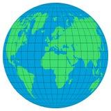 Aardebollen met de breedten en de meridianen op witte achtergrond Vlak aardepictogram stock illustratie