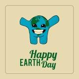 Aardedag, gelukkige planeet over kleurenachtergrond Stock Fotografie