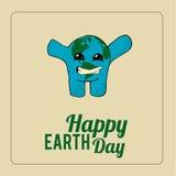 Aardedag, het glimlachen blauwe planeet over kleurenachtergrond Stock Afbeeldingen
