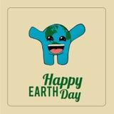 Aardedag, opgewekte blauwe planeet over kleurenachtergrond Royalty-vrije Stock Afbeeldingen