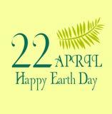 Aardedag sparen de planeetillustratie 22 april met gele achtergrond en bladeren Royalty-vrije Stock Afbeelding