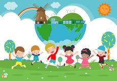 Aardedag, sparen de wereld, sparen planeet, ecologieconcept, het leuke die karakter van het jong geitjebeeldverhaal op witte vect royalty-vrije illustratie