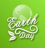 Aardedag, Woorden, Planeten en Bladeren vector illustratie