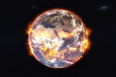 Aardeexplosie met brand royalty-vrije stock afbeeldingen