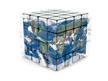 Aardekubus met atmosfeer stock illustratie