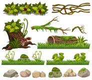 Aardelementen met gras en rotsen vector illustratie