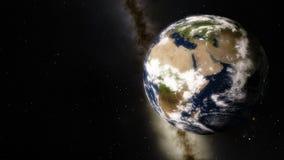 Aardeomwenteling met Melkweg in de Achtergrond royalty-vrije illustratie