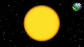Aardeomwenteling rond 3D zon - geef terug vector illustratie