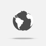 Aardepictogram met schaduw Stock Foto's