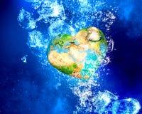 Aardeplaneet onder water Royalty-vrije Stock Fotografie