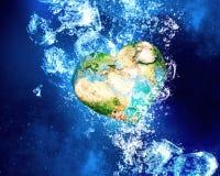 Aardeplaneet onder water Stock Foto