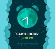 Aardeuur Planeet van de beeldverhaal de vlakke Aarde in Ruimte Sterrige hemelachtergrond met pluizige wolken en Aardebol Wekkerco vector illustratie