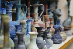 Aardewerk in Acre, Akko, markt met kruiden en lokale Arabische producten, Noord-Israël stock foto