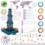 Aardgas en van de gasinstallatie de productielevering van het infographicsgas en gas het opslaan en kaart Stock Foto