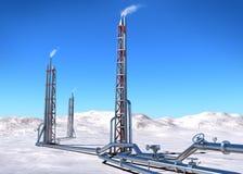 Aardgasleidingsbouw op het noorden. Stock Afbeeldingen