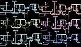 Aardgasleidingssystemen in kleur Royalty-vrije Stock Foto