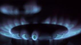 Aardgasontsteking in fornuisbrander stock videobeelden