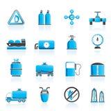 Aardgasvoorwerpen en pictogrammen Stock Afbeeldingen