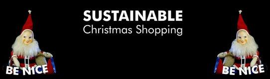 Aardig ben Santa Claus met tekst het Duurzame Kerstmis winkelen Zwarte achtergrond stock illustratie