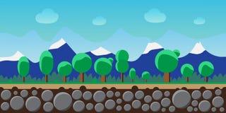 Aardlandschap, achtergrond voor spelen, bomen, bergen Royalty-vrije Stock Afbeeldingen